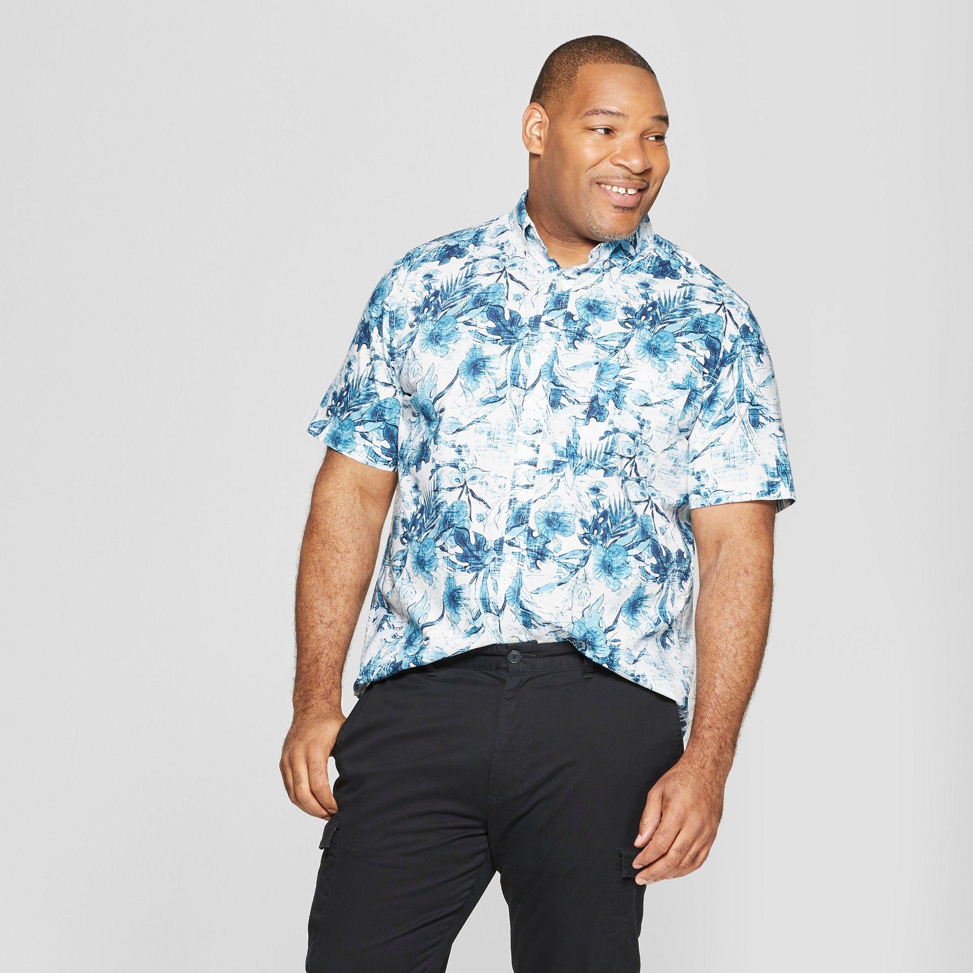 a6993669 Men's Big & Tall Floral Print Standard Fit Short Sleeve Poplin Button-Down  Shirt - Goodfellow & Co Aqua Dip 5XBT, Blue