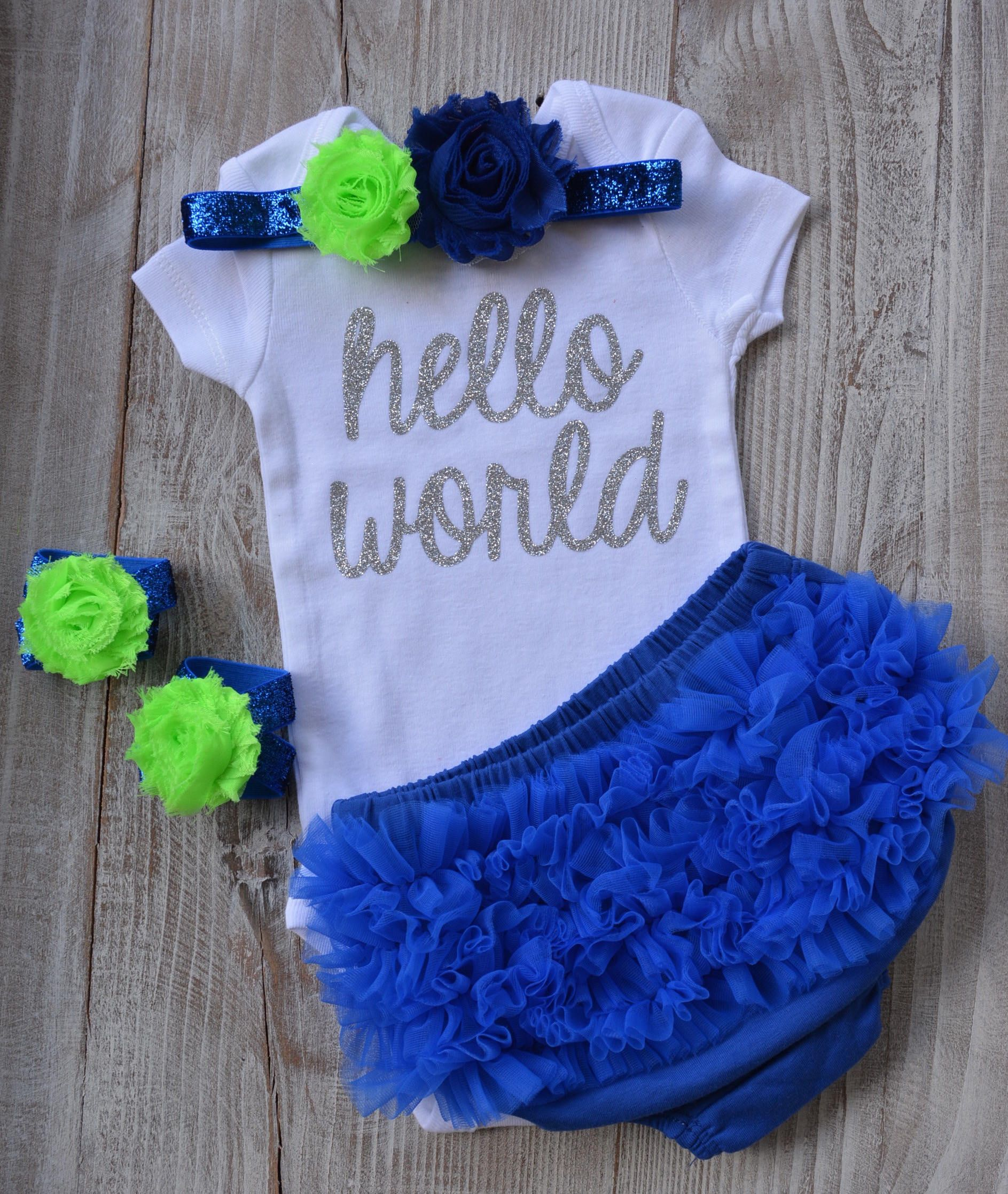 e3d419f4b Hello World Baby Newborn Girl Coming Home Outfit - Baby Girl Royal ...
