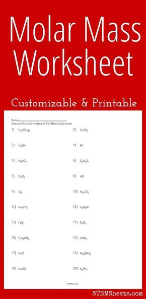 Molar Mass Worksheet Customizable And Printable Chemistry