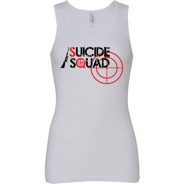 GrafikGeekz Suicide Squad Vinyl Print 100 Cotton Ladies Tank Top (£12) ❤ liked on Polyvore featuring tops, black, tanks, women's clothing, black tank top, fish tank, stretch tank top, graphic tops and black top