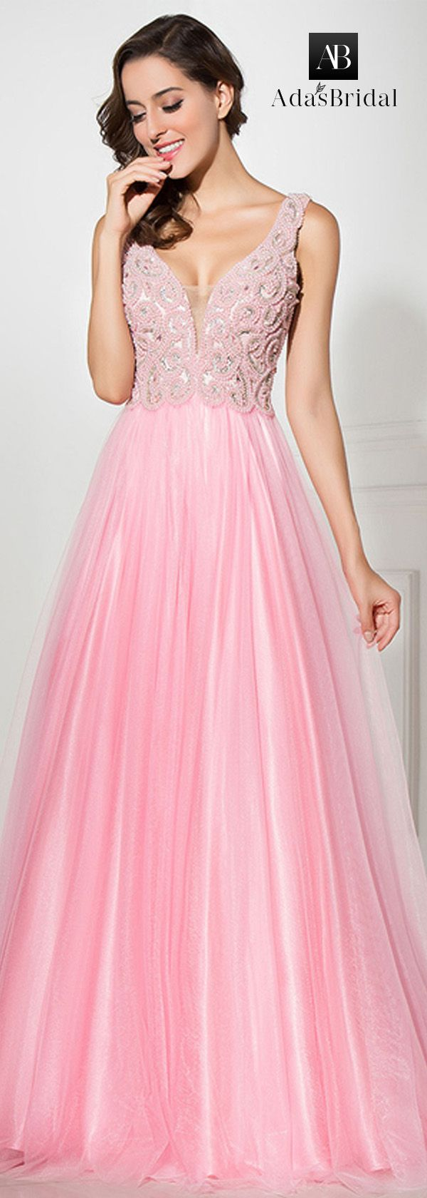 Graceful Tulle V-neck Neckline A-line Prom Dresses With Beadings ...