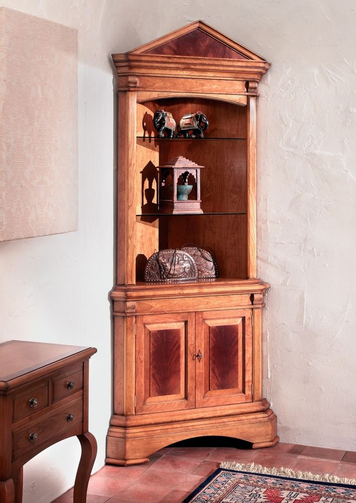 Cherry Wood Corner Cabinet Overview An Open Front Double Door Corner Cabinet,  Two Glass Adjustable Shelves And One Timber Bottom Cupboard Shelf Are  Supplied ...