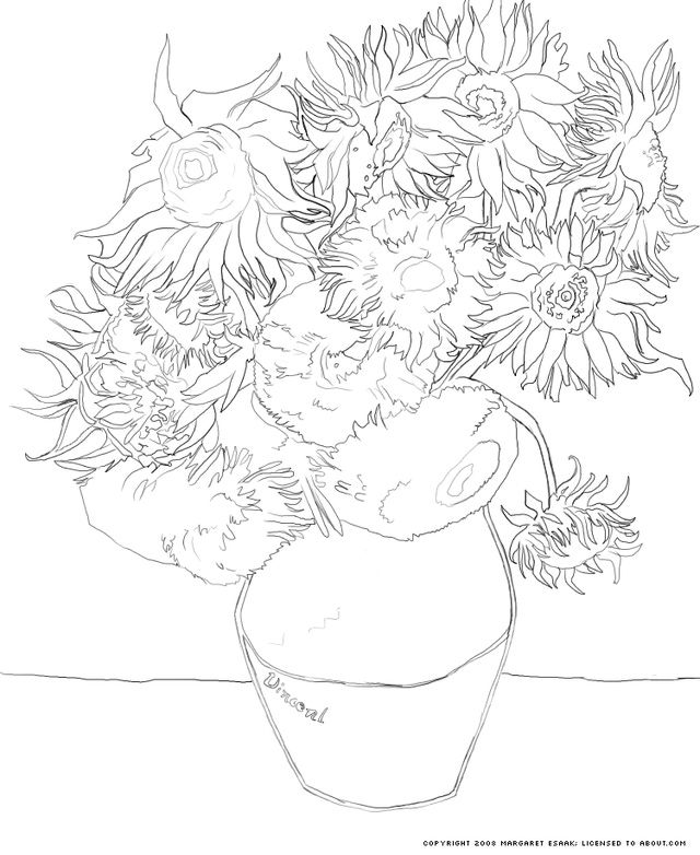 Free Art History Coloring Pages Van Gogh Coloring Sunflower Coloring Pages Famous Art Coloring