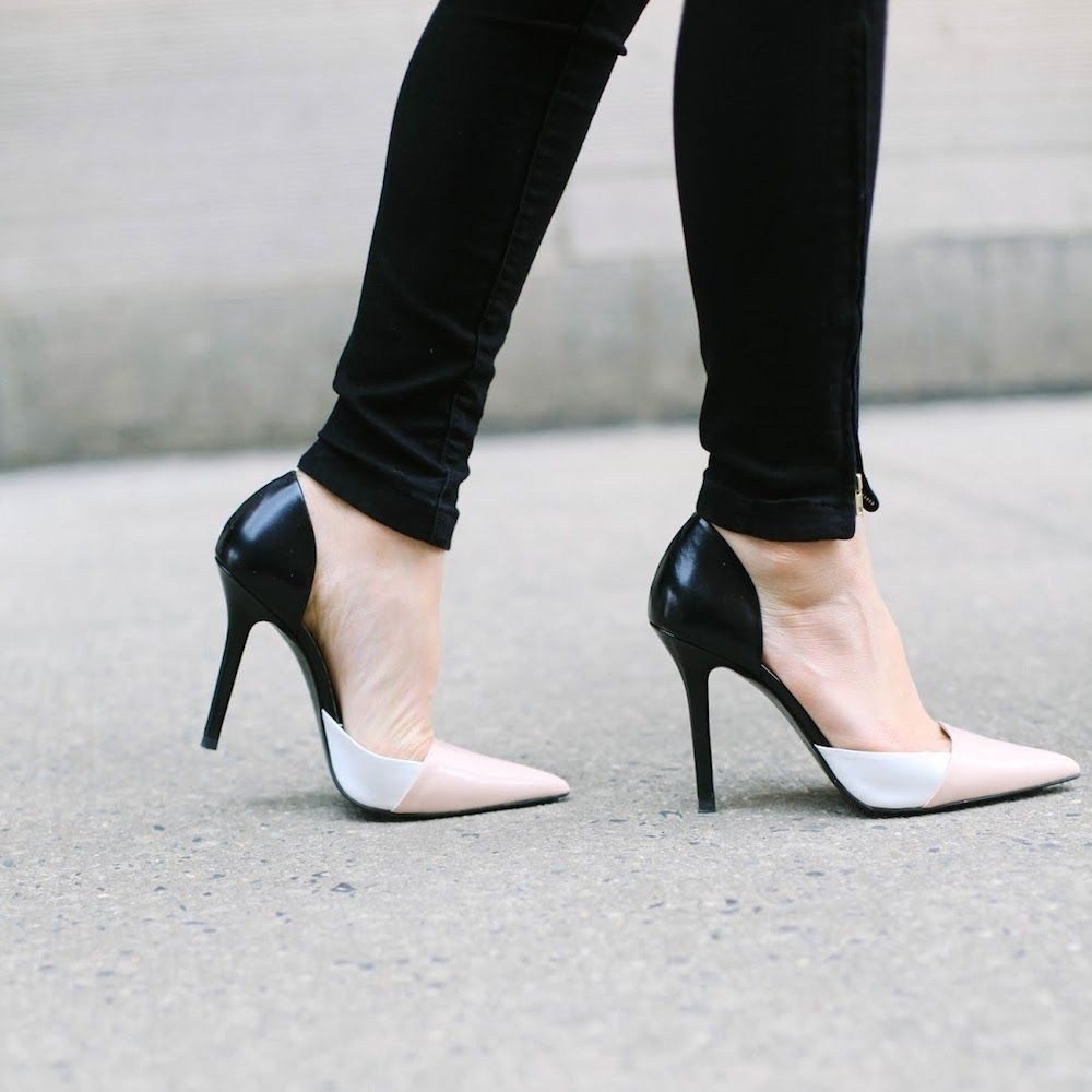f46a966a55fe6a ZARA Combined Leather High Heel Shoe