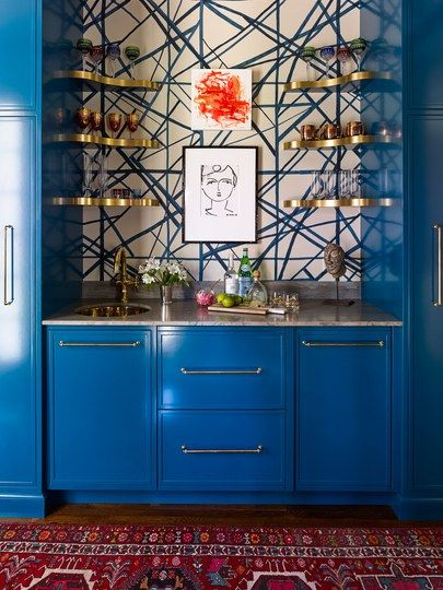 this electric blue paint color is a game changer home on basement bar paint colors id=83663