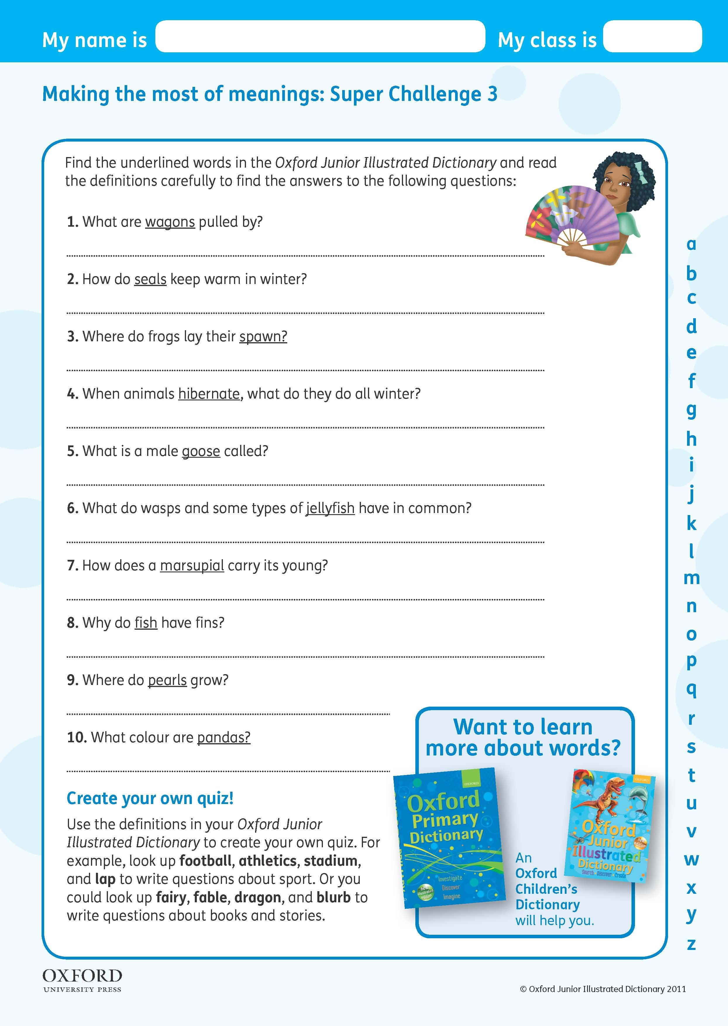 Download Your Free Oxford Junior Illustrated Dictionary Super Challenge Worksheet Find The