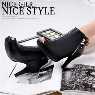 Zip-Trim Open-Toe Ankle-Boots from #YesStyle <3 Mizshoes YesStyle.com