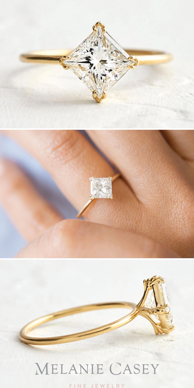 Unique engagement ring Rose gold engagement ring Cluster