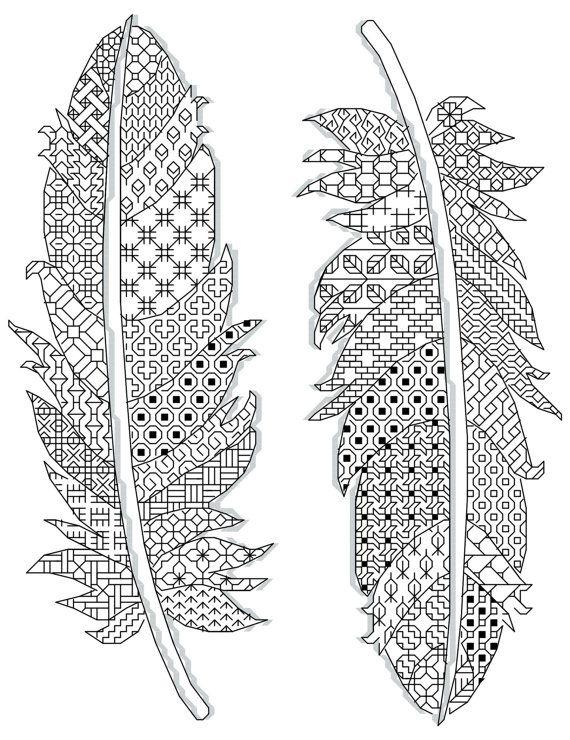 motifs de plumes Blackwork 17 x 23 cm (14 count) 2 couleurs différentes www.borduurbloempje.be