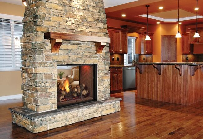 Double sided gas fireplace and Gas fireplace