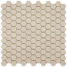 "porcelain hexagonal mosaic floor tile | Vintage 12"" x 11-3/4"" Unglazed Porcelain Hexagon Mosaic in Antique"