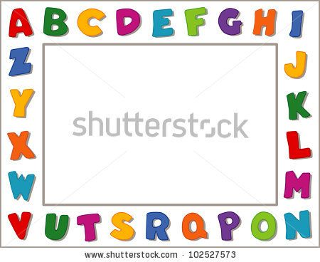 Alphabet Frame. Multicolor border on white background. Copy space for nursery, school, daycare, education announcements, posters, fliers, scrapbooks, albums.