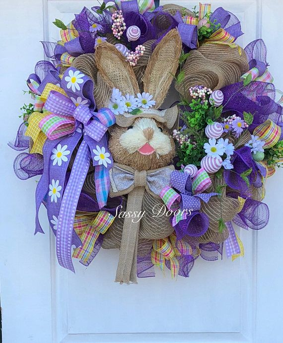 Easter Wreath, Easter Bunny Wreath, Easter Front Door Wreath, Spring ...