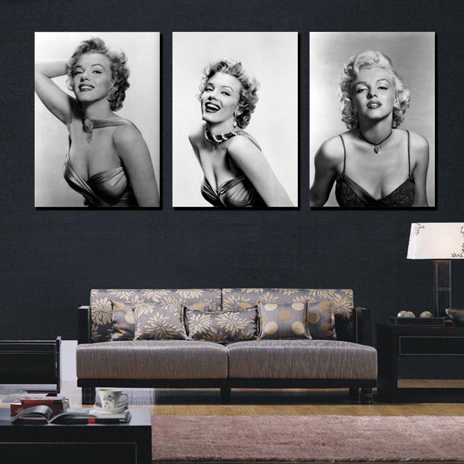 Marvelous Modern Marilyn Monroe Home Decor Canvas Wall Black White Figure Paintings  Picture Print Sexy Actress Painting