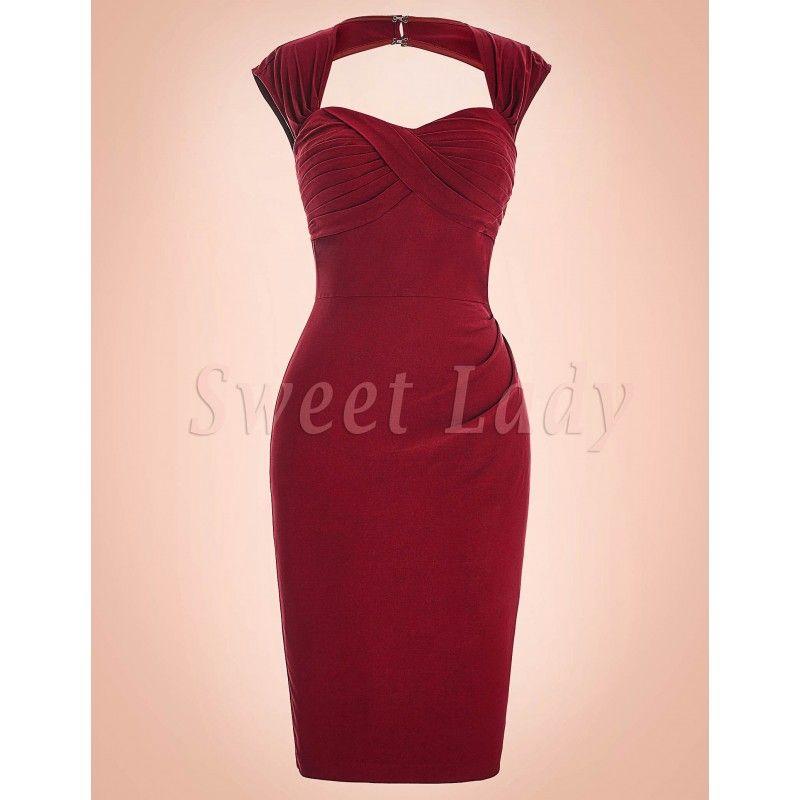 a73b70bc4062 Elegantné priliehavé červené šaty v štýle 50.roky