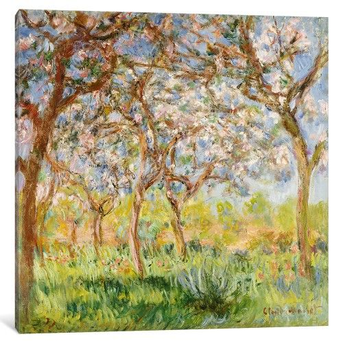 iCanvas Spring at Giverny Gallery Wrapped Canvas Art Print by Claude Monet
