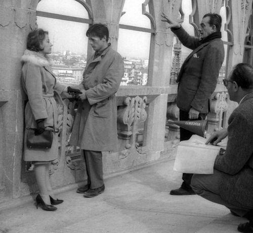 Luchino Visconti directs Annie Girardot and Alain Delon in Rocco e i suoi fratelli,1960