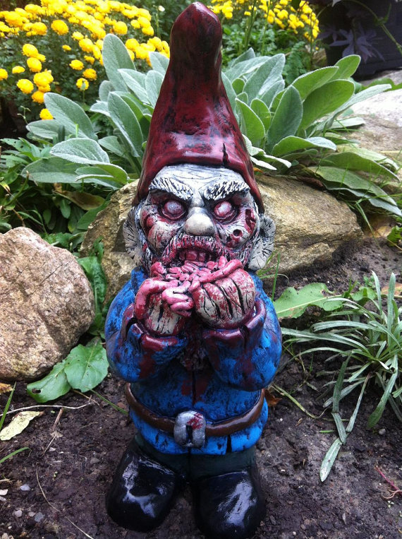 Garden Gnome Zombie.......gnombie....this Is Hilarious And Awesome With A  Little Bit Creepy. I Think My Yard Need These!