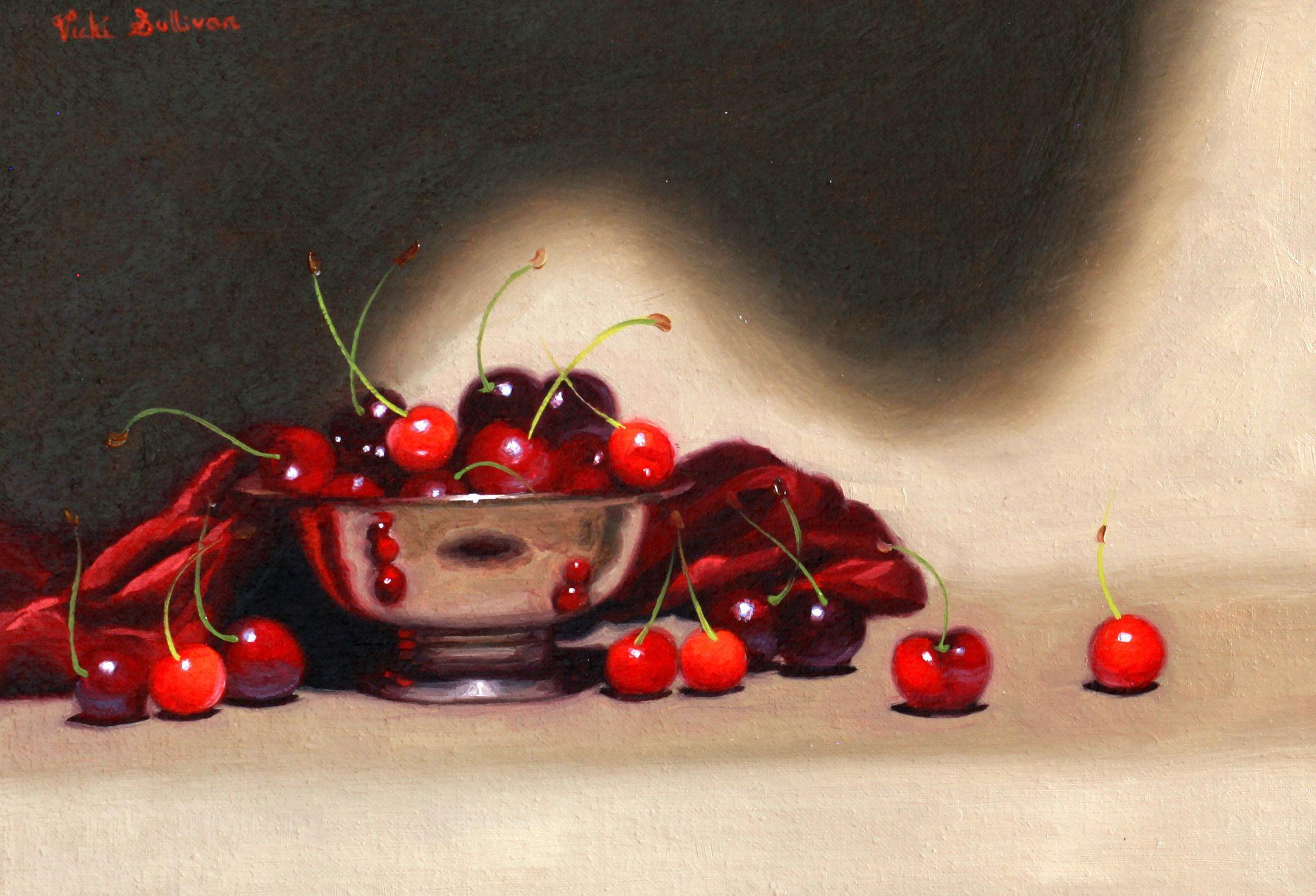 https://flic.kr/p/BXKmcx | Silver bowl with Cherries by Vicki Sullivan | Stilol Life#Oilonlinen#Australian Artist#tonalpainting#Cherries#Fruit#freshcherries#Melbourneartist#organicfruit#organicgarden#homegarden#painting#art#