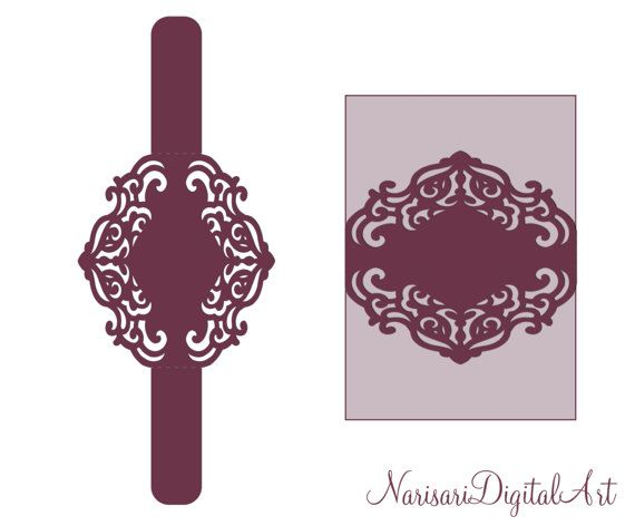 Wedding Invitation cutting file. Belly band laser cut Template ...