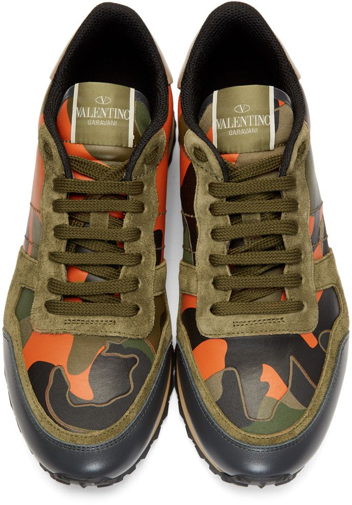 e0dc62a42dbf7 Valentino - Green & Orange Camo Rockrunner Sneakers | CAMO FOR MEN ...