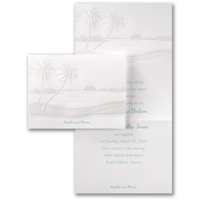Sunset Beach Wedding Ideas: Tropical Sunset - Invitation
