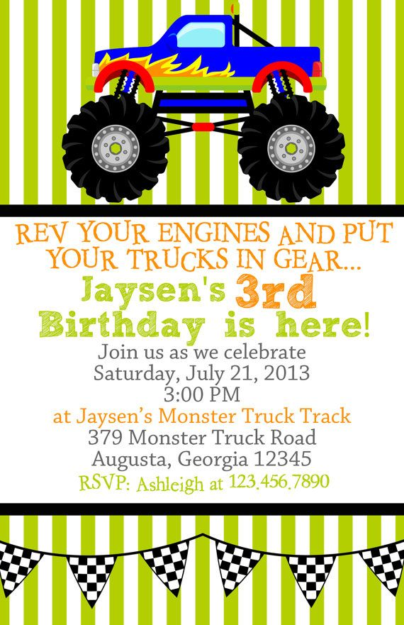 Monster Truck Birthday Party Invitations | Monster trucks, Monsters ...