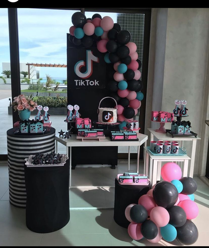 Pin By Karla M On Cake Tick Tok Birthday Surprise Party 12th Birthday Party Ideas Girly Birthday Party