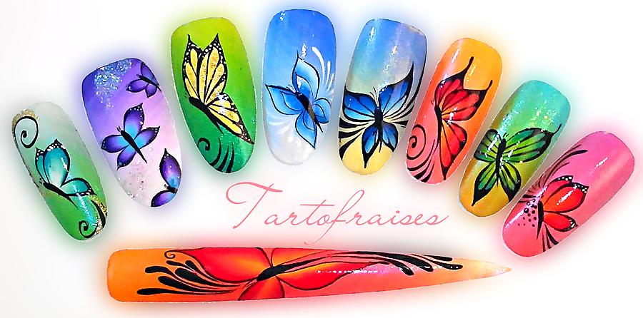 Butterfly One Stroke Tartofraise Nail Art Nails Pinterest