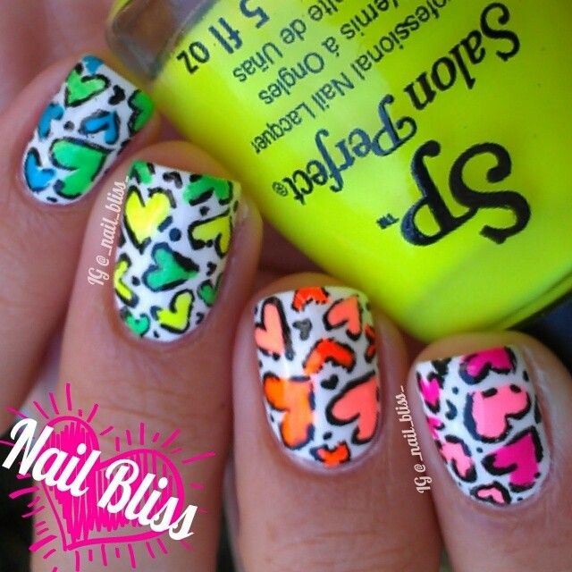 corazones fosforitos de leopardo   Diseño   Pinterest   Uña ...
