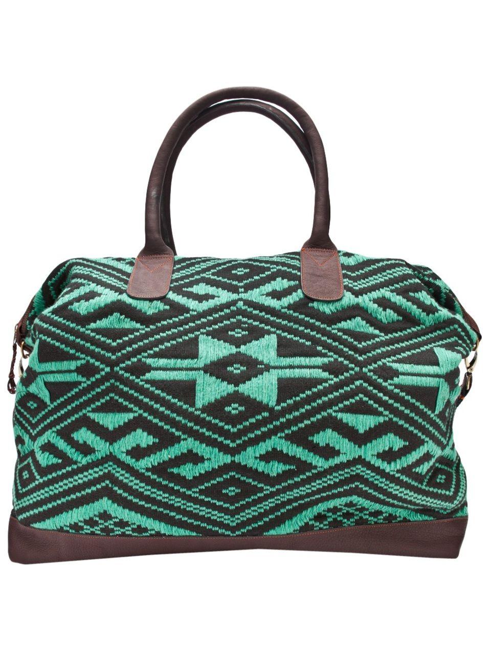 teal patterned duffel
