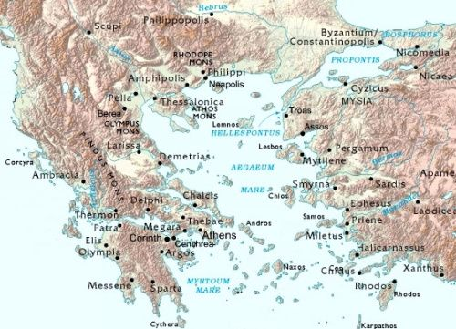 Map Of Aegean Sea Greece And Asia Minor Region Bible Maps