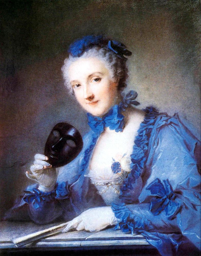 Pintura la dama vestida de azul