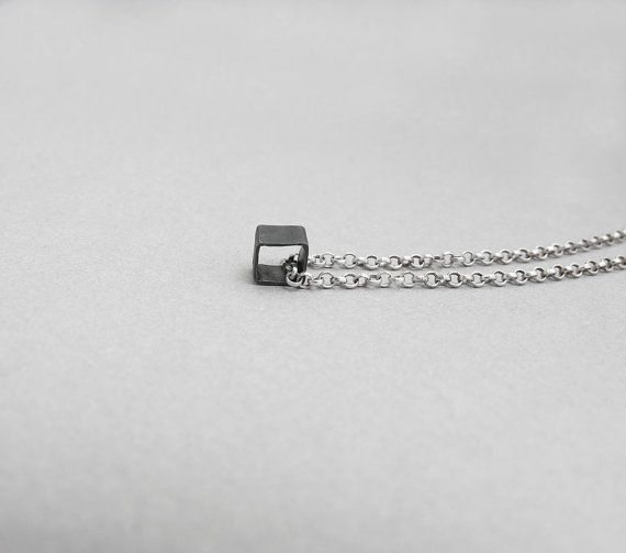 Minimalist Bathroom Tutorial: Dainty Sterling Silver Necklace, Geometrical Square Cube