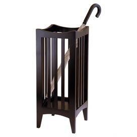 """Umbrella stand with slatted sides.Product: Umbrella stand Construction Material: Wood Color: Cappuccino Features: Refined, elegant style Slatted design Will enhance any decor Dimensions: 26.77"""" H x 11.02"""" W x 11.02"""" D"""