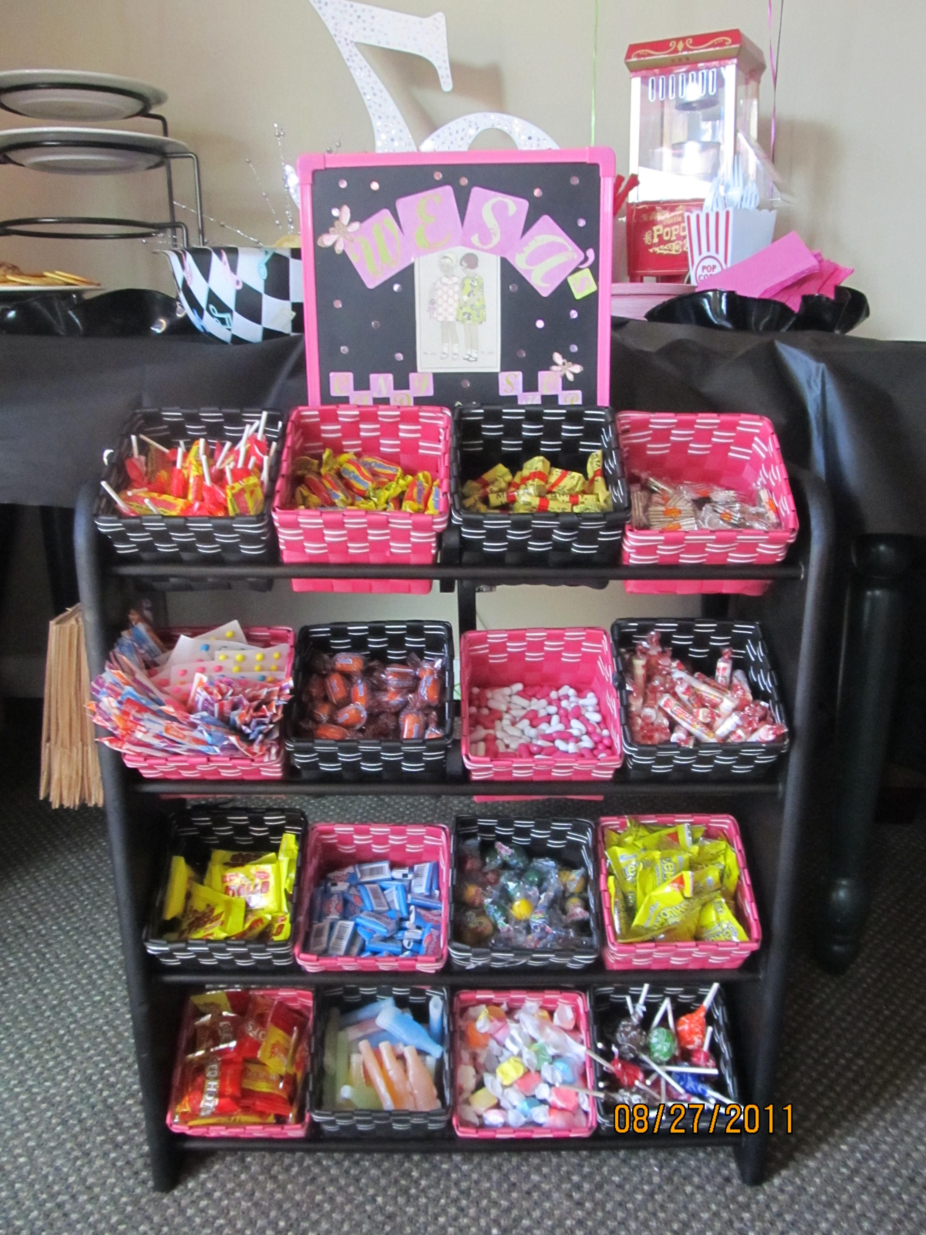 old fashion candy bar made with old vcr rack and some baskets from the