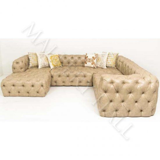 Contemporary u shaped sand faux leather tufted sectional for Sand leather sofa