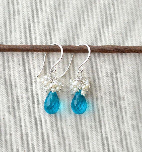 Teal Bridal Earrings, Wedding Jewelry Something blue by BlueRoomGems, $85.00