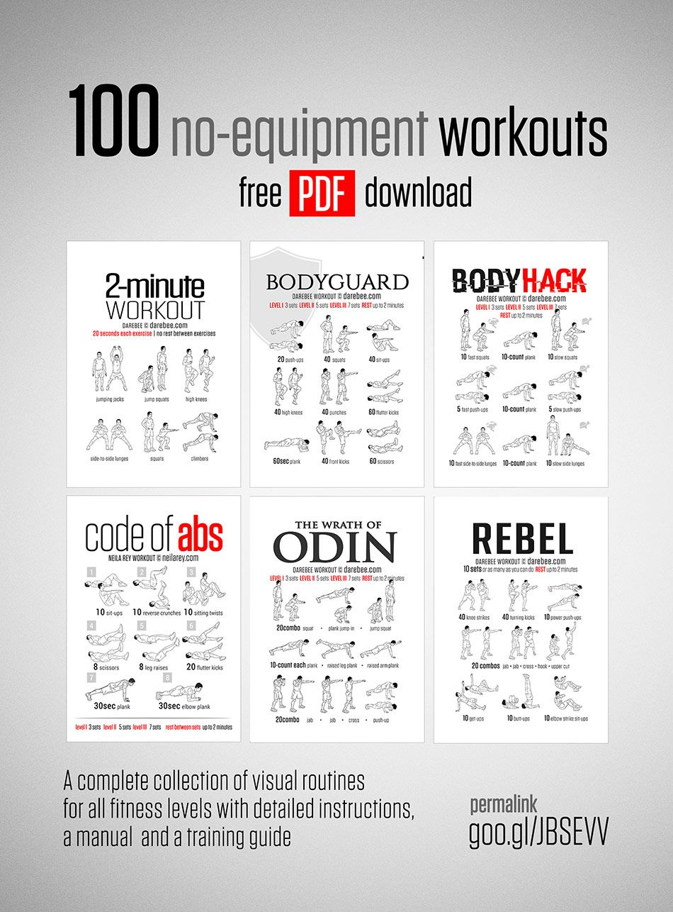 100 no equipment workouts fitness health pinterest workout 100 workout and bodybuilding. Black Bedroom Furniture Sets. Home Design Ideas