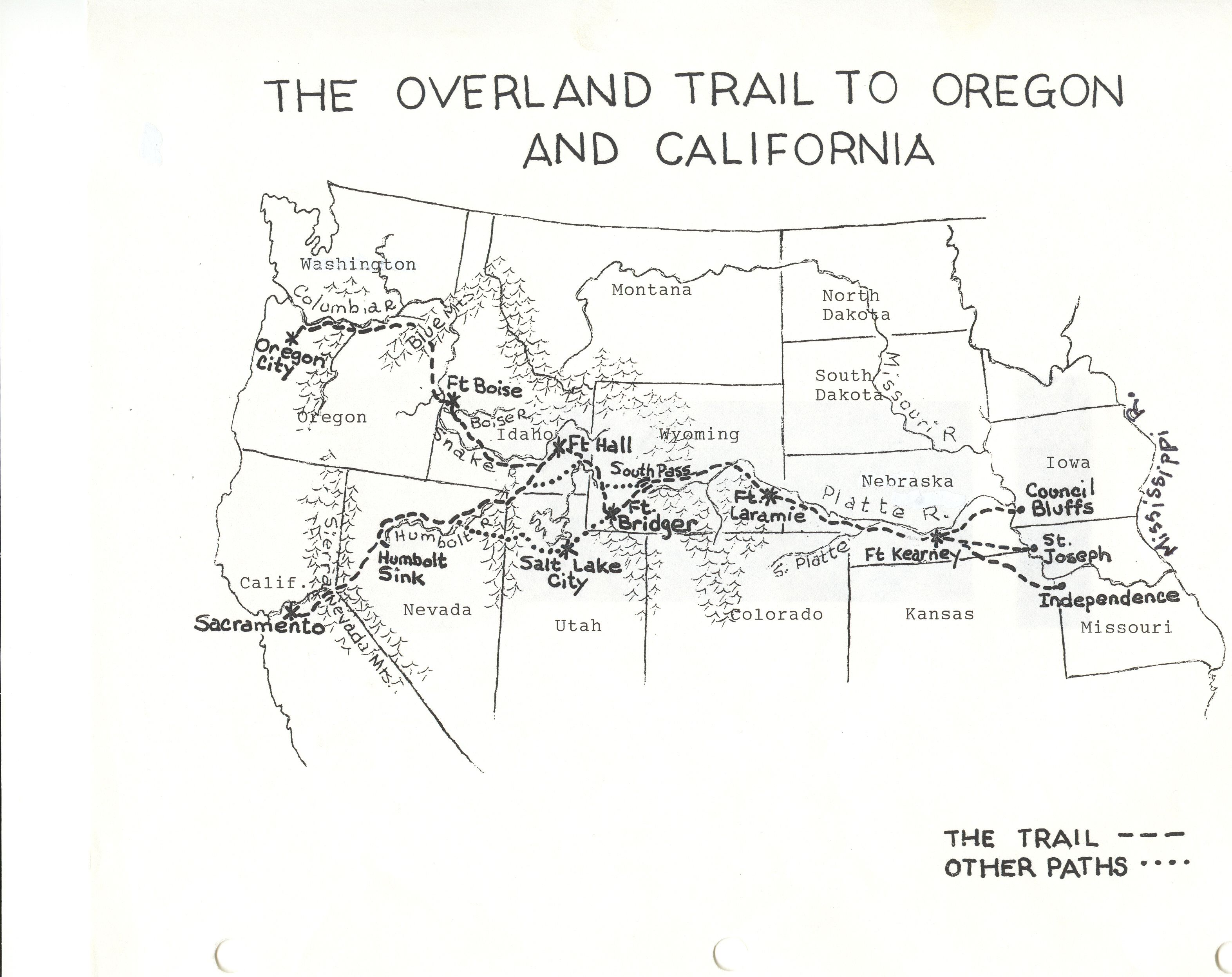 Large Oregon Trail Map Oregon Trail Project California History