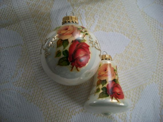 Glass Christmas Ornament 1 with Painted Roses by IsabelsVintage