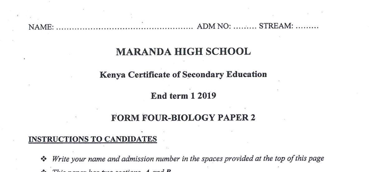 Maranda High Form 4 Biology Paper 2 (End Term 1, 2019