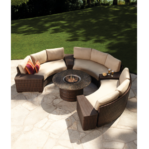 Contempo Curved Sectional At The Great Escape Fire Pit Patio Set