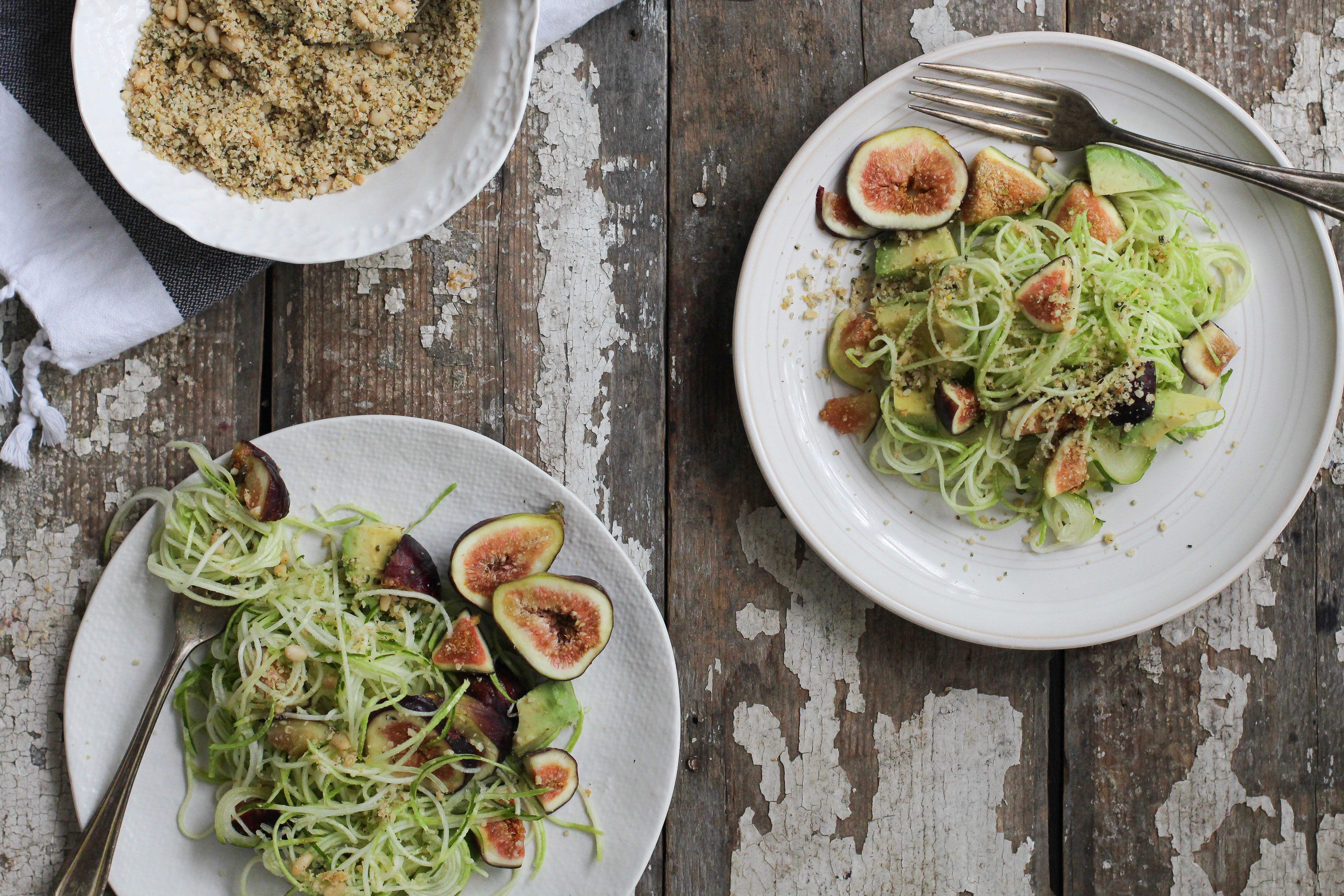 Fig Zucchini Pasta with Hemp Seed Crumble