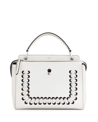 V2VCT Fendi .COM Medium Whipstitched Leather Satchel Bag, White ... f578550ea9