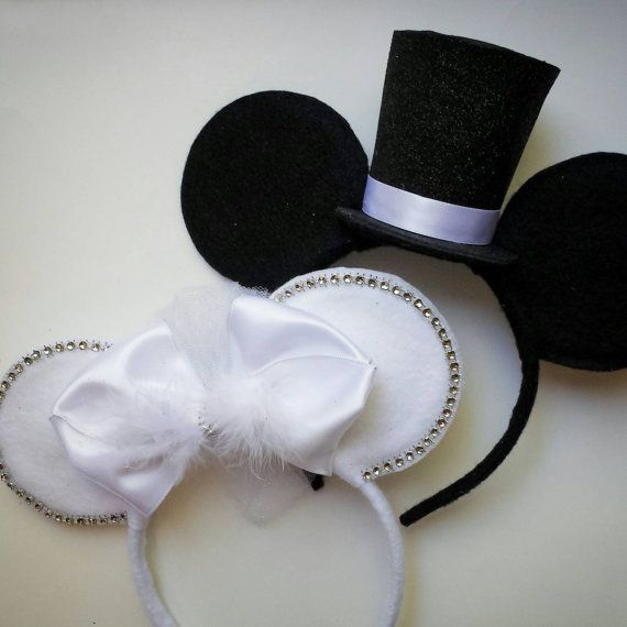 Custom made Bride   Groom Mouse Ears. Bride ears have a small white puff  veil in the back. Colors can be customized on both ears. Headband is one 341f4735698