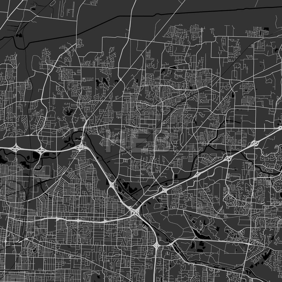 Bartlett downtown and surroundings Map in dark