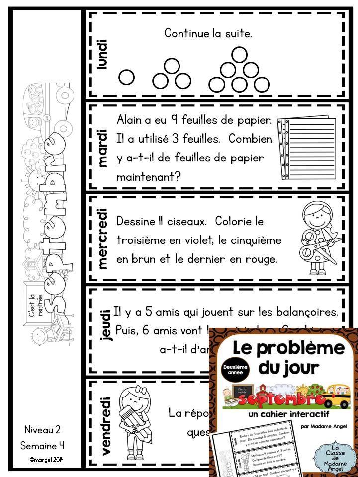 Le Probleme Du Jour Pour La Deuxieme Annee French Math Problem Of The Day For 2nd Grade Flip Book Style Math Word Problems Word Problems Kids Math Worksheets
