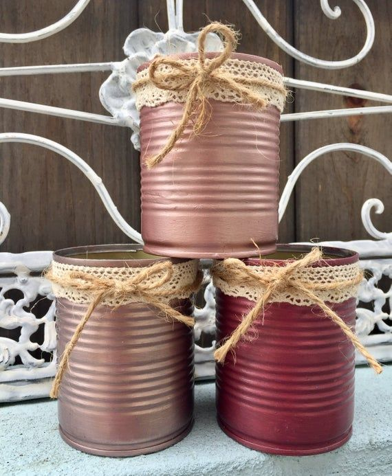3 Shabby Chic Metallic Rose Golds Hand Painted Tin Can Vases Home Dorm Office Decor Wedding Centerpieces Decoration by Sweet Vintage Designs #tincans