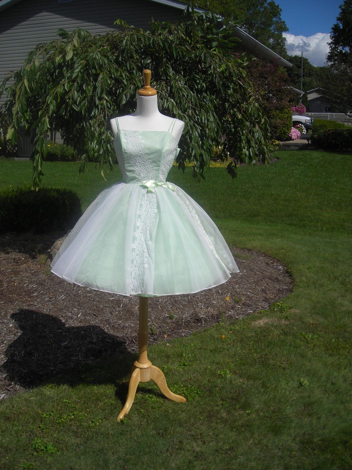 Us prom dress pale mint green double spaghetti straps xs